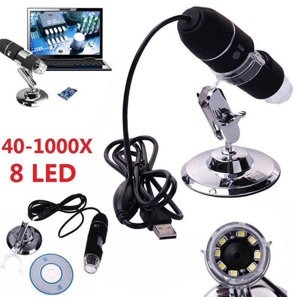 1 Uds CMOS 1000X2 MP Digital USB Microscopio endoscopio lupa cámara de vídeo de alta calidad Microscopio lupa + dispositivo de soporte
