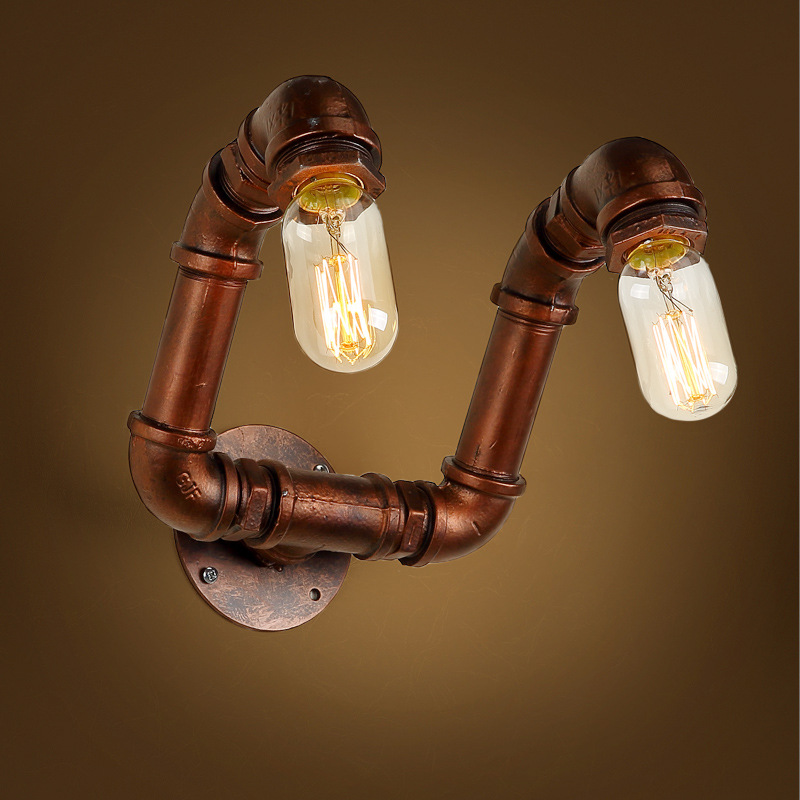 Loft Industrial 2 lights iron rust Water pipe retro wall lamp Vintage e27 sconce lights for living room bedroom restaurant bar art deco industrial iron butterfly retro water pipe table lamp e27 desk lights reading lamps night light for living room bedroom