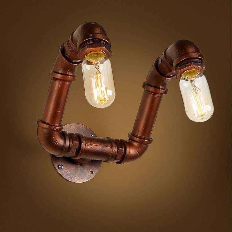 Loft Industrie 2 Lichter Eisen Rost Wasser Rohr Retro Wand Lampe Vintage E27 Wandleuchte Fr
