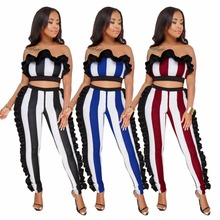 2018 Fashion Women Sexy Party Club Bodysuit Striped Jumpsuits Ladies 2 Pieces Playsuits Summer Vestidos Rompers w/ Ruffle Edges