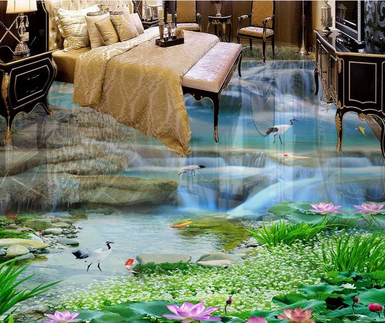 3d flooring waterproof wallpaper custom 3d flooring Waterfalls Lotus Carp self adhesive mural wallpaper 3d floor tiles free shipping 3d carp lotus pond lotus flooring painting tea house study self adhesive floor wallpaper mural