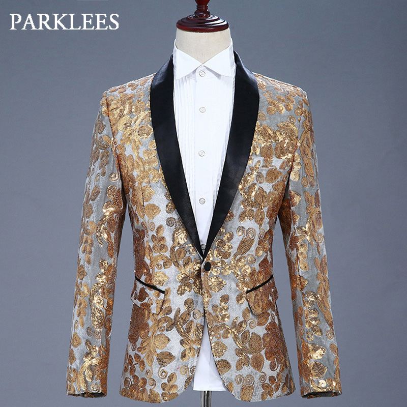 Gold Flowers Sequins Blazer Men Shawl Lapel Slim Fit Mens Gray Suit Blazers  DJ Club Stage Singer Costumes Jacket Homme Masculino 40f64d895416