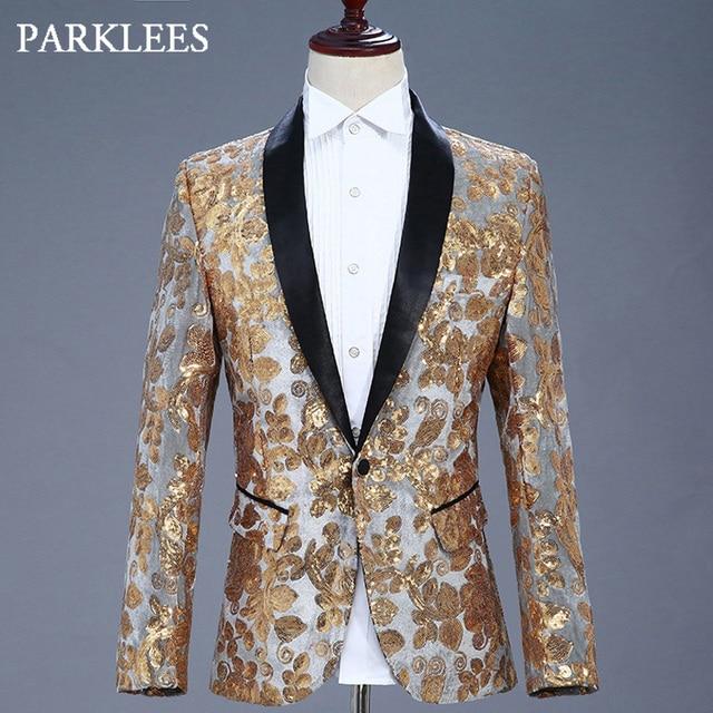 1ffa8c89d2fb23 Gold Flowers Sequins Blazer Men Shawl Lapel Slim Fit Mens Gray Suit Blazers  DJ Club Stage Singer Costumes Jacket Homme Masculino