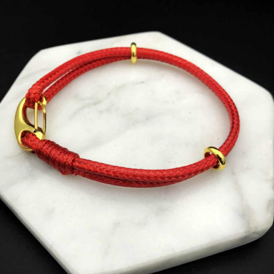 1 sztuk sprzedać handwork tkania bransoletki skórzany sznurek String bransoletka szczęście czerwony ręcznie liny dla kobiet mężczyzn bransoletka