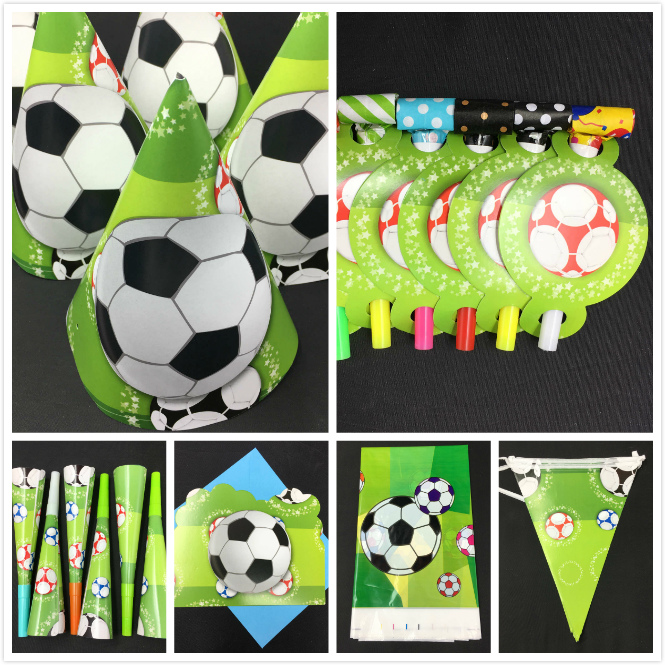 84pcs football Theme paper cup napkin plate spoon horn for Kids Birthday Party Decoration 6people use Set in Disposable Party Tableware from Home Garden