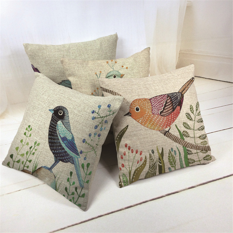2016 Hot Sales Cheap Small Fresh Hand Paint Flower Bird Cushion Cover Linen Throw Pillow Case On Sofa For Home Decoration