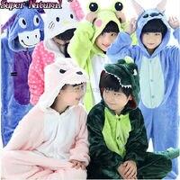 Winter Kid Flannel Animal Kigurums Pikachu Totoro Cat Eeyore Pig Tiger Giraffe Pajamas Onesie Child Cosplay