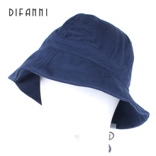 Difanni Sunscreen Men Women Bucket Hat Caps Summer Autumn Solid Color Fisherman Panama High Quality Cotton fedora  Simple Hats