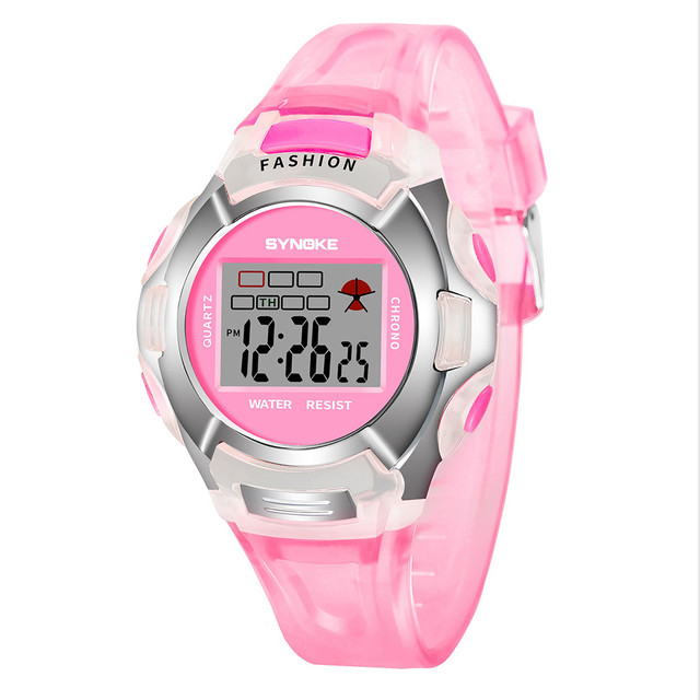 2018 Transparent Colorful Children Kids Studentd Sports LED Digital Wrist Watch