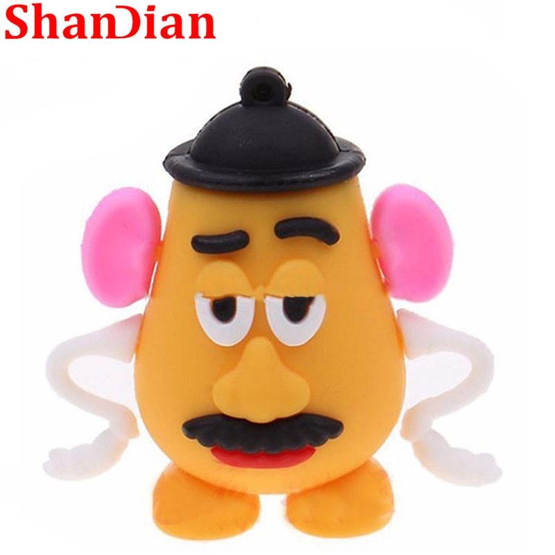 SHANDIAN New Cute Mr. Potato Head Pen Drive 64G 32GB 16GB 4GB Usb2.0 Flash Drive Pendrive Memory Stick U Disk Gift Free Shipping