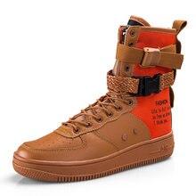 be1f1b8e6d Estilo casal Sapatilhas Superiores Altas Novas 2019 Hip Hop PU Sapatos de  Couro Respirável Lace Up Punk Rock Dos Homens Sapatos .