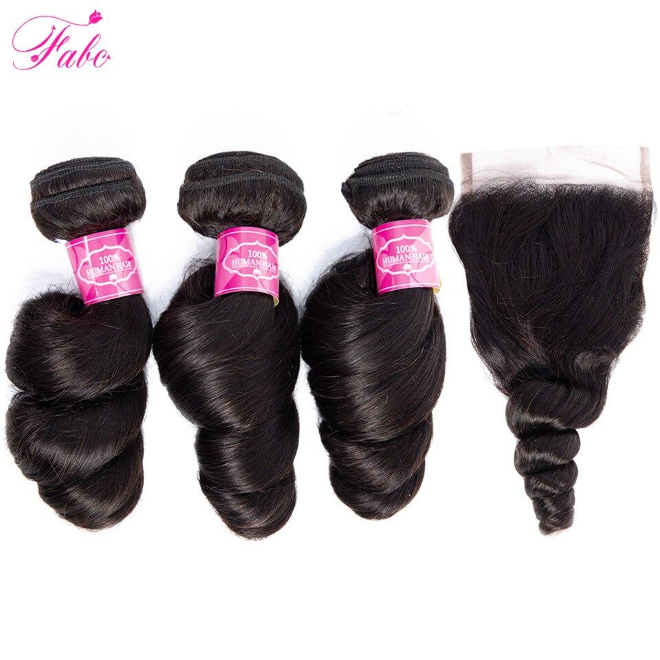 FABC Brazilian Hair Loose Wave Bundles with Closure Non Remy Human hair Bundles with Closure 4