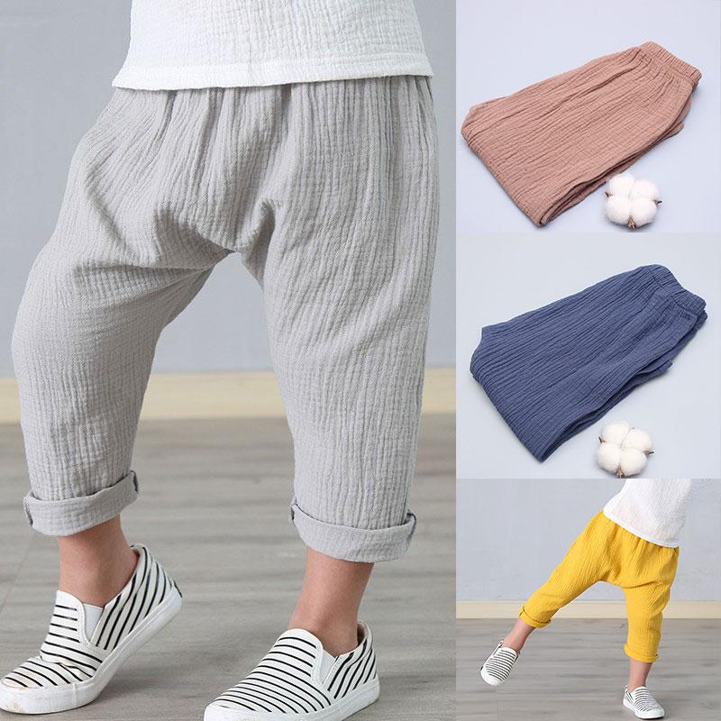 Новые От 2 до 7 лет 2018 летние однотонные льняные плиссированные детские штаны до щиколотки для маленьких мальчиков штаны-шаровары для детей