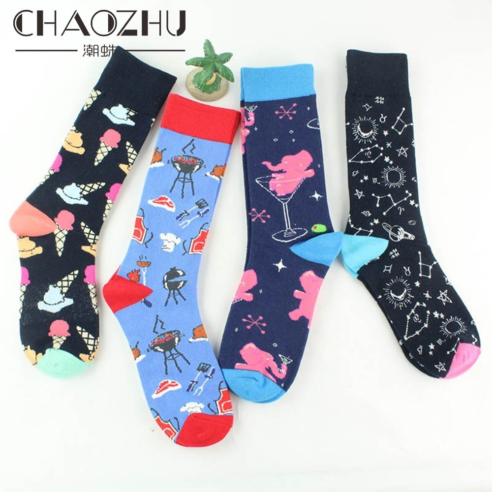 CHAOZHU 6 Colors Creative Childlike Cartoon Ice Cream Star Map Beer BBQ Long Autumn Winter Warm Cotton Fashion Happy Socks