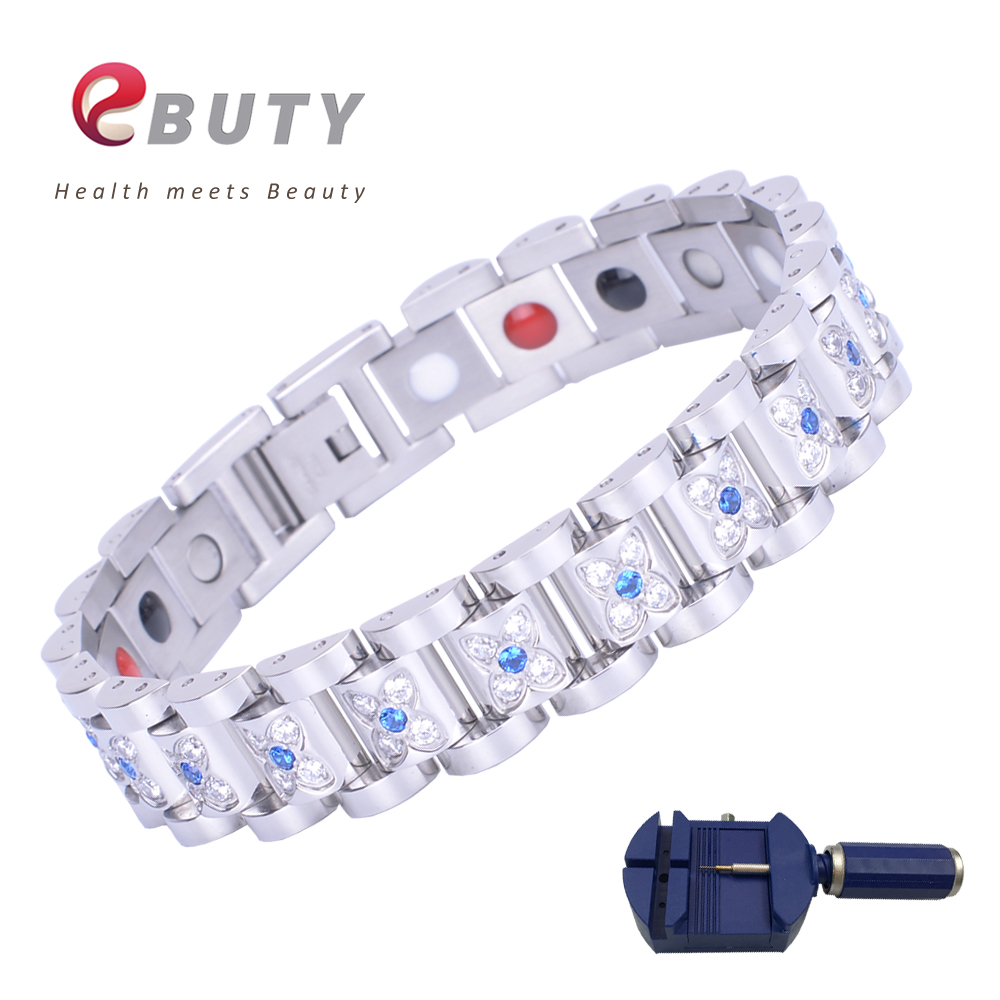 EBUTY Crystal Bracelet for Women Stainless Steel with 4 in 1 Energy Balls Magnet FIR ION Germanium Health Fashion Jewelry Bangle