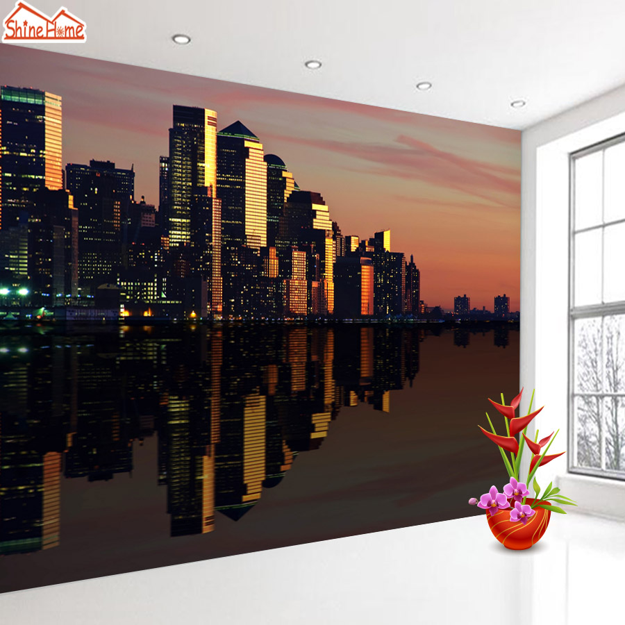 ShineHome-Modern Night City Building 3d Wallpaper Wallpapers Photo Walls Murals for 3 d Living Room Kids Home Roll Wall Paper shinehome sunflower bloom retro wallpaper for 3d rooms walls wallpapers for 3 d living room home wall paper murals mural roll