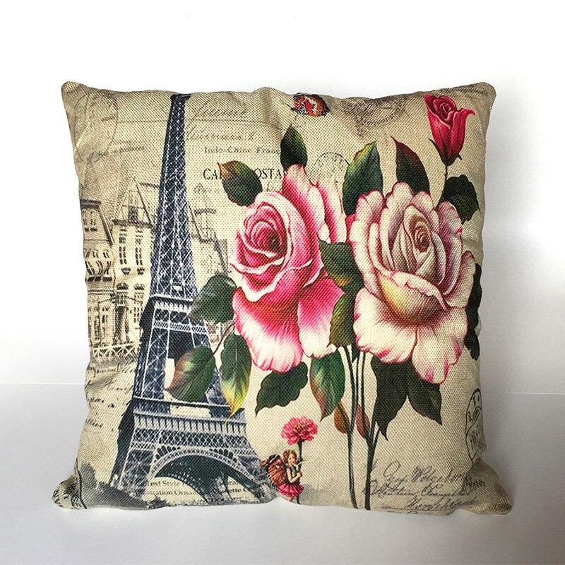 Scenic Cushion Pillow Case Cover Decorative Pillows Covers Linen Cotton For Sofa Decor Home Paris Building Bohemian Throw ben