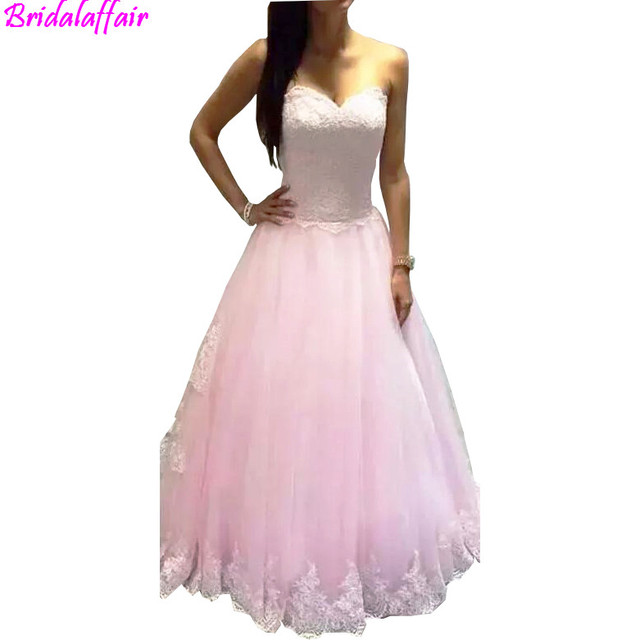Wholesale Ball Gown Prom Dresses Long 2018 Princess Pink Sweetheart  Appliques A Line Lace Up Tulle Formal Party Evening Gown 96526ad9e387