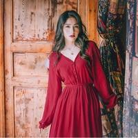 Vintage Red Chiffon Beach Maxi Dress Spring Solid V Neck Long Lantern Sleeve High Waist Hippie Vocation Boho Womens Dresses Hot