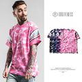 High quality  2017 male T shirt new spring summer tide camouflage sleeve printed shark fashion men streetwear hip hop T-shirt