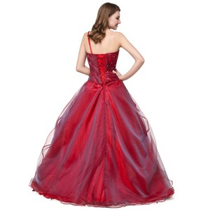 Image 3 - Ruthshen BallชุดQuinceaneraเดรสVestidos De 15สีแดงหวานสิบหกชุดหนึ่งไหล่Debutante Gowns Robe De Bal 2019