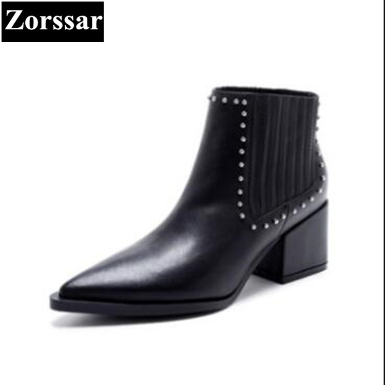 {Zorssar} Brand 2017 New Autumn Winter Fashion rivets Genuine Leather High heels women ankle boots pointed toe Chelsea boots цена