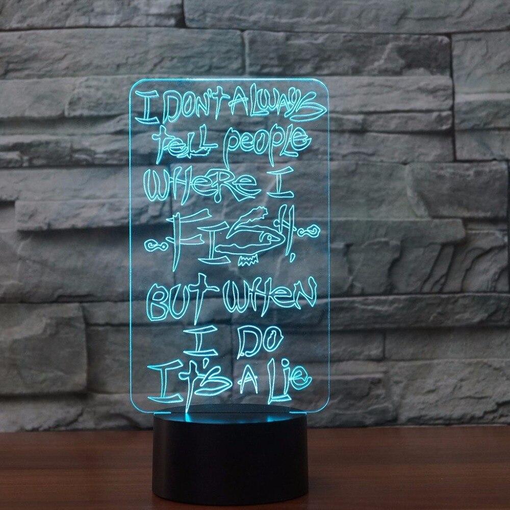 Рыбалка лампа 3D USB визуальный индикатор Красочные ночники кабинет рыбы настольная лампа Lampara сна Освещение Творческий дом декора подарки