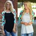Primavera Mujeres de La Camiseta Tops Mujer Moda Floral Impreso Patchwork Delgado T-shirt de Algodón Del O-cuello Ocasional Camisetas Básicas Más El Tamaño S-3XL