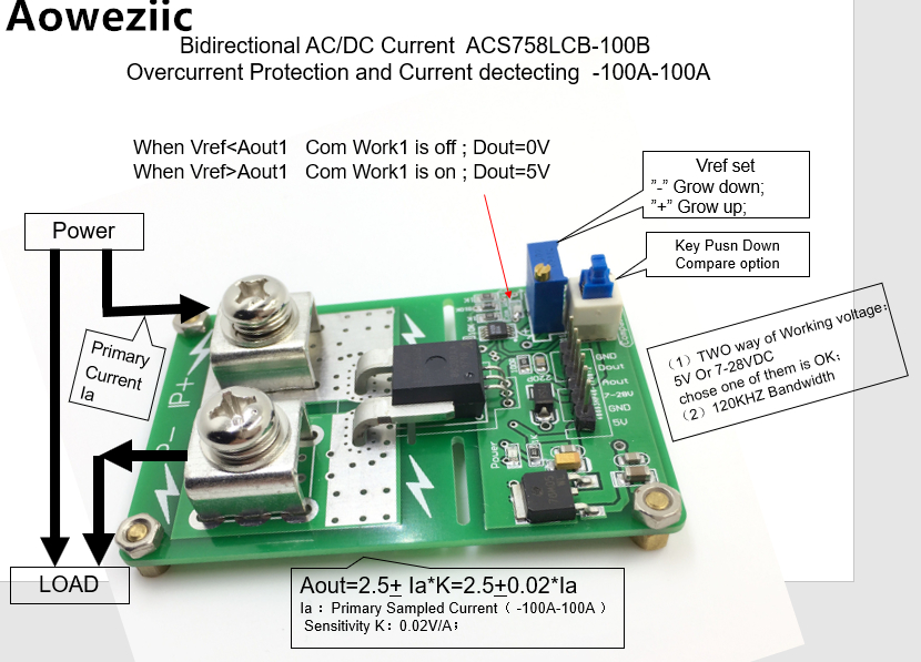 Aoweziic ACS758LCB-100B ACS758 AC/ DC detection over current protection module over current protection function Rang:-100A-100A 1pcs current detection sensor module 50a ac short circuit protection dc5v relay page 6