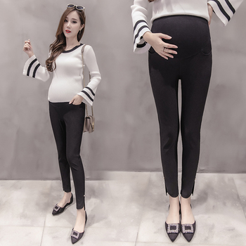 Pengpious autumn and winter pregnant belly pants Irregular solid color maternity pencil pants office ladies elegant trousers Брюки
