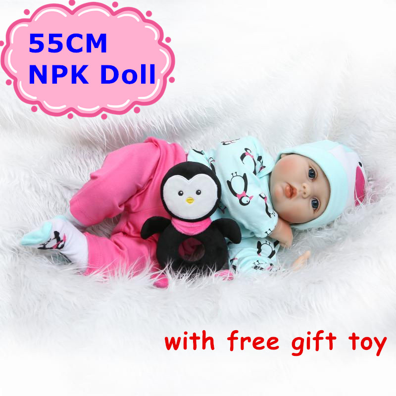 NPK 55cm Soft Silicone Reborn Bebe Doll Vivid Vinyl Newborn Babies With Cute 22Doll Clothes&Free Toy Boneca Baby Toy For Child pink wool coat doll clothes with belt for 18 american girl doll