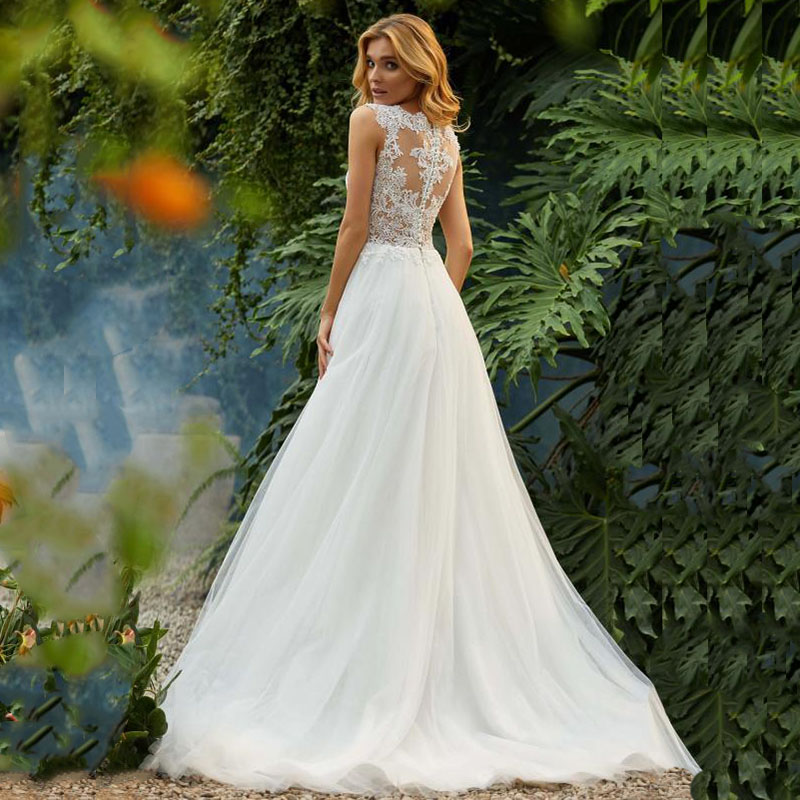 Image 2 - LORIE Princess Wedding Dress 2019 O Neck Appliqued with Lace top Tulle Skirt Beach Boho Wedding Gown Custom made Bride Dresses-in Wedding Dresses from Weddings & Events