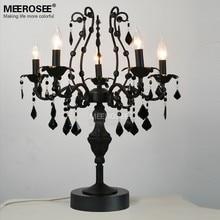 5 Lights Vintage Black Crystal Table Lamp Desk Light Fixture Cristal Lustre de cristal Candelabra for Reading room Bedroom Decor