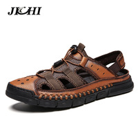 2019 New Big Size Genuine Leather Men Sandals Summer Quality Beach Slippers Casual Sneakers Outdoor Beach Shoes 38 46