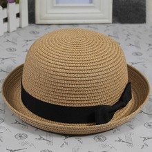 Summer Lovely Women Straw Bowler Derby Hat All-Match Summer Roll Brim Family Hat Hot