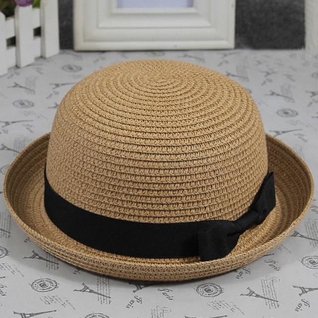 Summer Lovely Women Straw Bowler Derby Hat All-Match Summer Roll Brim Family Hat Hot