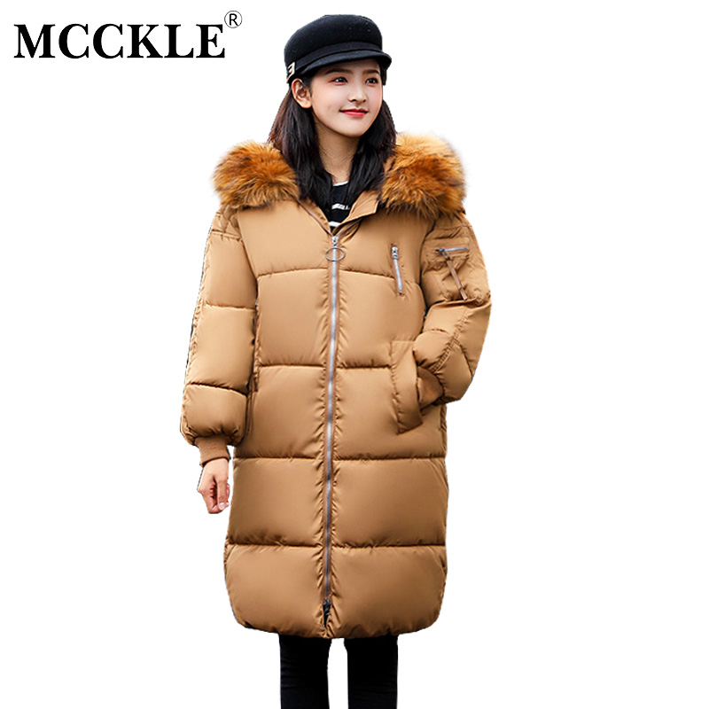 MCCKLE Winter Jacket With Fur Collar Hooded Cotton Padded Long Puffer Coat Women Thick Warm Loose Parka Jaqueta Feminina Inverno mcckle winter jacket with fur collar hooded cotton padded long puffer coat outwear women fashion thickening warm parka overcoat