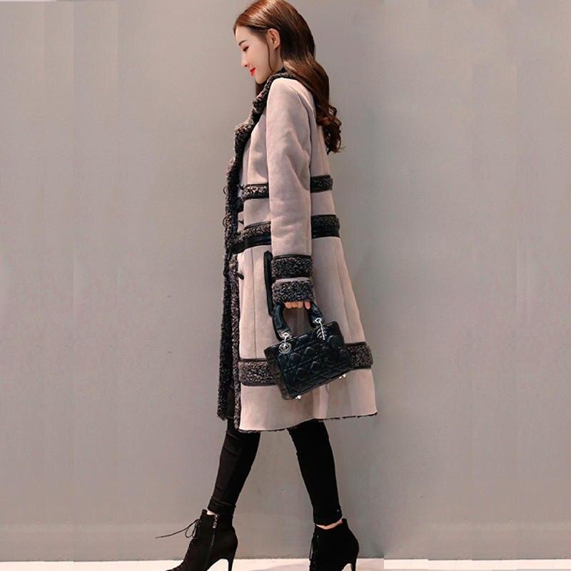 Fashion Suède Jas Vrouwen Jas Afneembare Plus Fluwelen Lange Jas Elegante Slanke Dikker Plus Size Lange Mouwen Winter Jas Q633 - 6