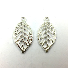 10Pcs Pendants For Necklaces Craft Jewelry Accessories DIY Finding Charms Silver Plated Leaf Hollow Metal 27x15mm