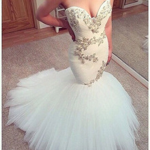 Special Design Mermaid Wedding Dresses Amazing Off the Shoulder Beading Applique Tulle Bridal Gown Custom Made