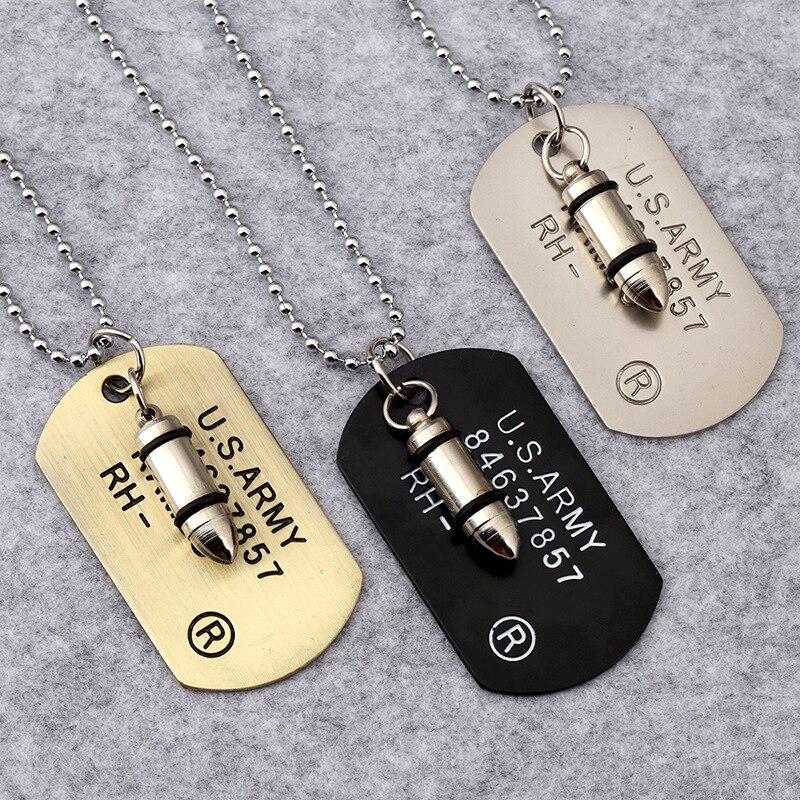 New Stainless Steel Zodiac Dog Tag Pendant Men S Women S: ᑐArmy Bullet Dog ≧ Tag Tag Pendant Necklace Women Men Punk