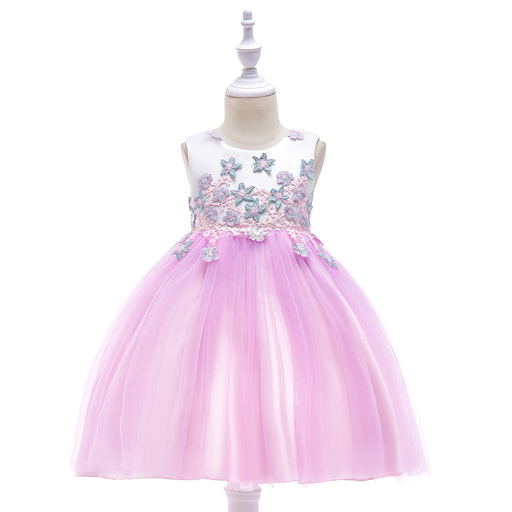 Free shipping 2018 new children's applique princess dress flower girl wedding party dress performance concert costume JQ-2008