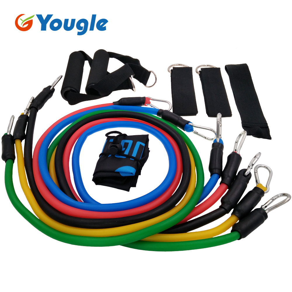 YOUGLE 11 Pcs per Set Resistance Band as Exercise Pull Rope with Hanging Buckle Made of Natural Latex 1