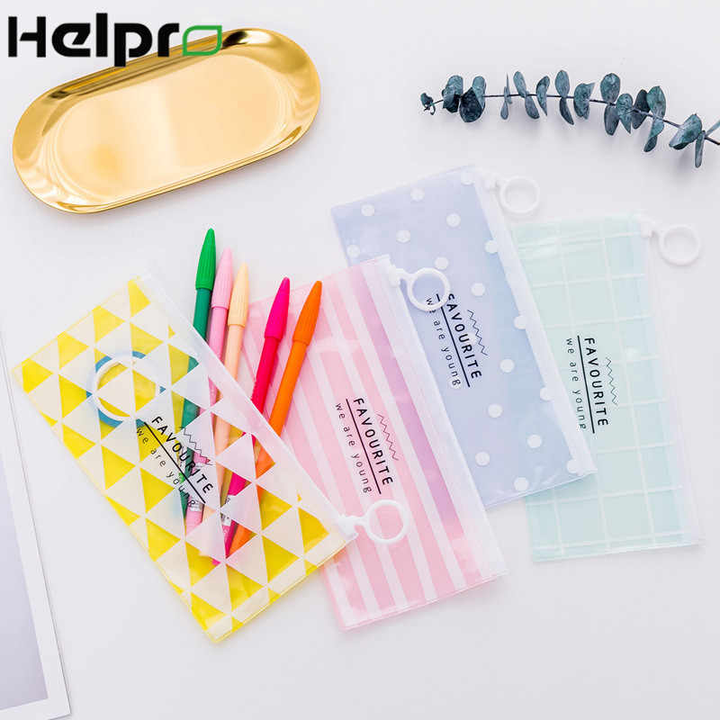Helpro Transparent Polygon Pencil Cases Simple Pull Ring Design Office Student Pencil Bag School Supplies Pen Box Stationery