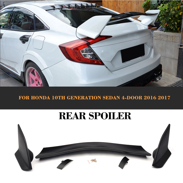 honda civic 2017 4 door. black abs rear trunk boot race spoiler wing for honda civic 10th generation sedan 4 door 2017