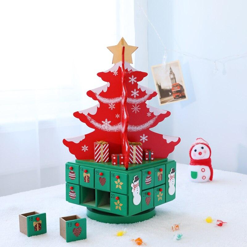 Рождественская елка с ящиком, Рождественское украшение, креативная Деревянная Рождественская елка, хранение конфет для X'mas календаря, подс...