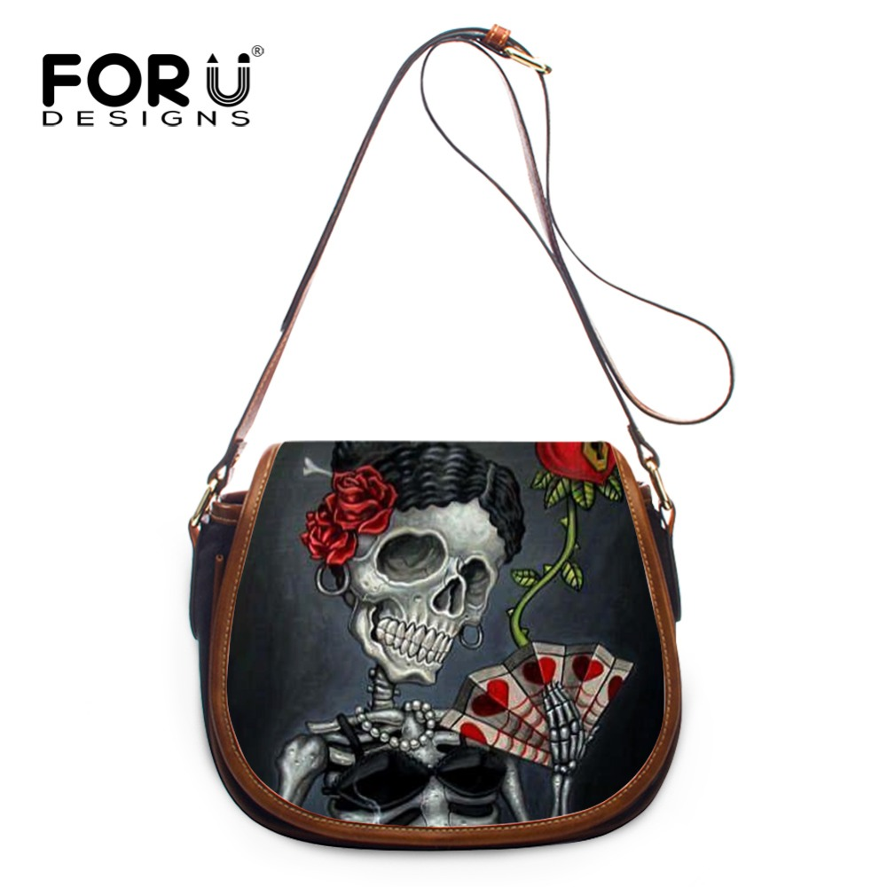 17403fc87a FORU DESIGNS Skull Series Printing Women s Small Crossbody Bags Leather For  Fashion Lady Flap Pocket Messenger Bags Tote Sacthel