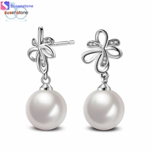 SUSENSTONE Fashion Jewelry Pearl Earrings Rose Gold Plate SWA Element Austrian Crystals Flower Earrings For Women(China)