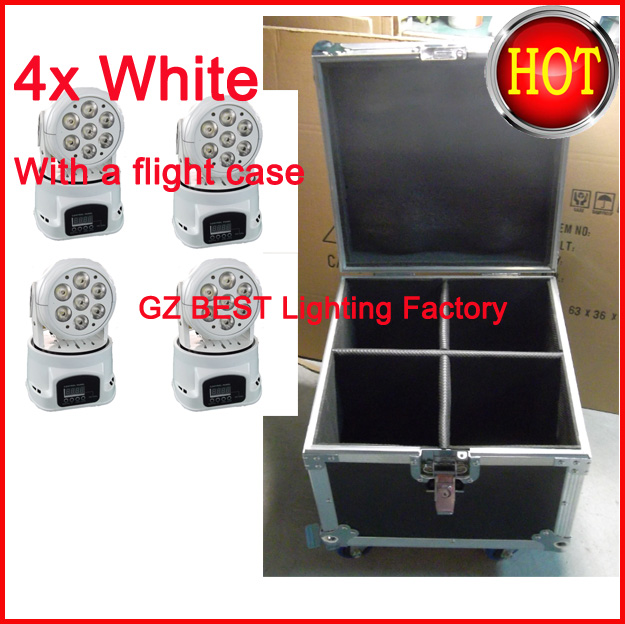 4pcs/lot With A Flight Case Led Mini Moving Head Wash Light Mini Led Rgbw Moving Head Light 7x12w 4IN1 Excellent For Mobile Appl