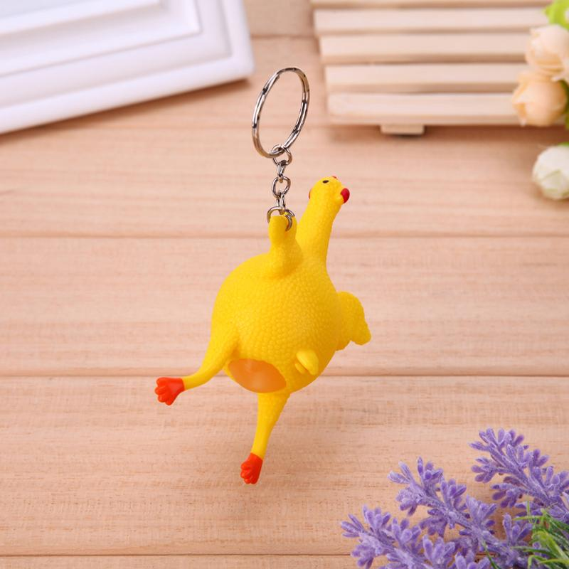 Funny Squeeze Chicken Egg Laying Hens Anti Stress Keychain Toy For Kids Adult Tricky Funny Gadgets Toy Party Prank Joke Toy Gift